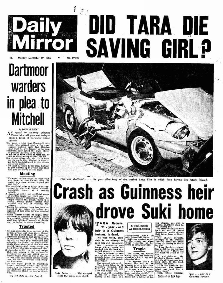 """50 лет назад Тара Брауни Погиб в автокатастрофе, о которой Джон спел: """" Он не заметил, что цвета светофора понялись... толпа зевак собралась вокруг...и кто то утверждал, что погибший из палаты Лордов"""""""