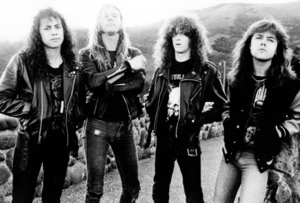 Kirk Hammett, James Hetfield, Jason Newsted and Lars Ulrich of Metallica photographed in 1986. Elektra/PhotoFest, source billboard.com