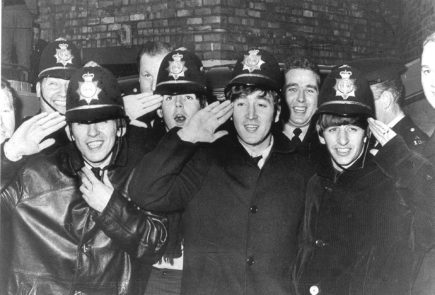 The Beatles with Birmingham Police officers