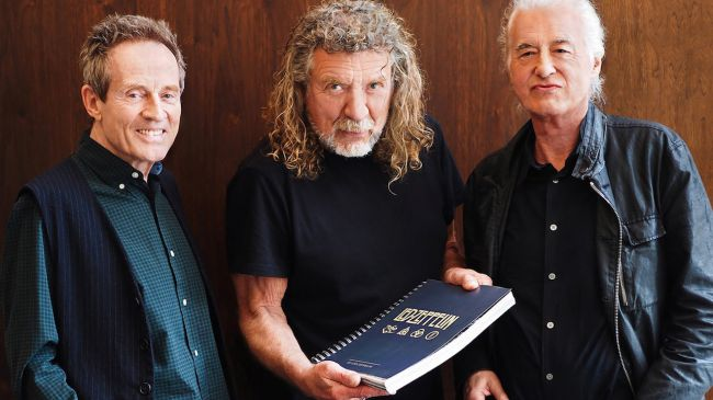 Image: © Dave Brolan/Reel Art Press - Jones, Plant and Page with the official 50th anniversary Led Zeppelin book